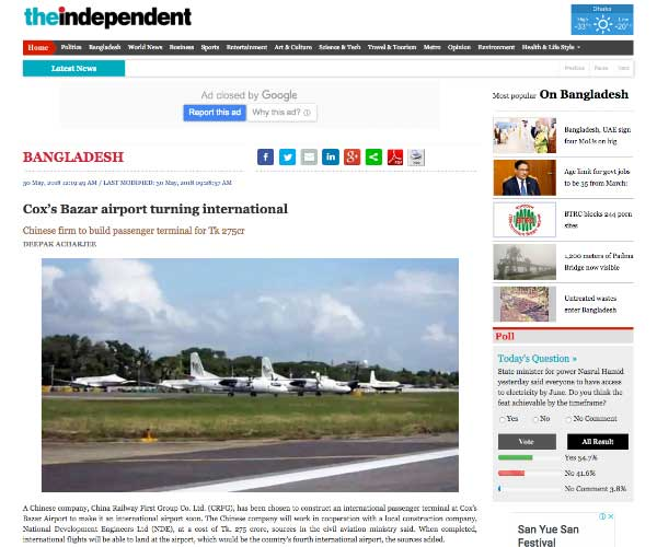 Cox's Bazar airport turning international